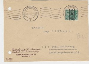 Germany Berlin 1948 Allied Occupation Stamps Cover FRONT to Schoneberg Ref 32385