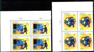 PARAGUAY 1997 UPAEP AMERICA POSTMEN,BLOC OF 4,Mi 4746-7 YV 2733-4 MNH