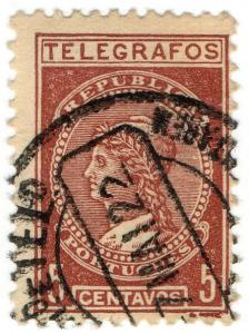 (I.B) Portugal Telegraphs : 5c Red-Brown