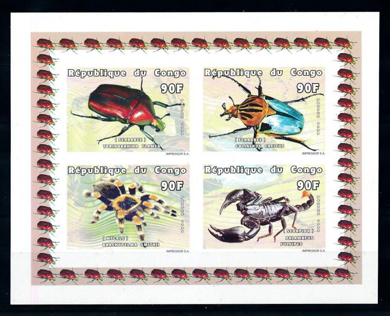 [75552] Congo Brazzaville 1999 Insects Beetle Spider Scorpion Imperf. Sheet MNH