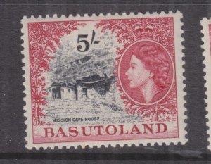 BASUTOLAND, 1954 QE 5s. Black & Carmine, heavy hinged.