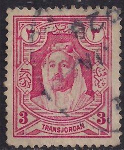 Transjordan 1927 - 29 KGV1 3 mil Carmine Pink Emir Abdullah used SG 160 ( L14...