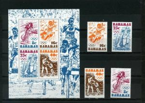 BAHAMAS 1976 SUMMER OLYMPIC GAMES MONTREAL SET OF 4 STAMPS & S/S  MNH