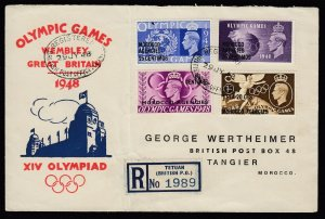 Morocco Agencies, SG 179a, FIRST DAY cover Crown Flaw variety