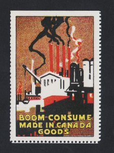 REKLAMEMARKE POSTER STAMP ⭐ BOOM CONSUME MADE IN CANADA GOODS ⭐ 1948