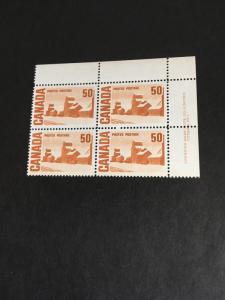 Canada #465A UR  Plate 1 Block Tiny Black Mark at UR Selvedge O/W VF-NH Cat.$25.