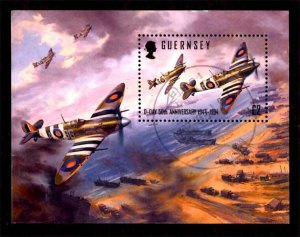 Guernsey 1994 D-Day Fighter Planes, Aviation, Ships S/S £2 Scott.530 Used