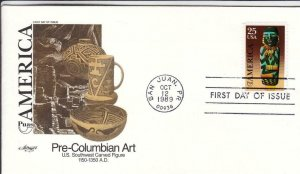 1989, 25c Pre-Columbian Art, Artmaster, FDC (D15012)
