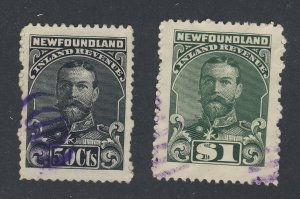 2x Newfoundland Revenue Stamps;   #NFR24-50c NFR25-$1.00  Used Guide = $47.50