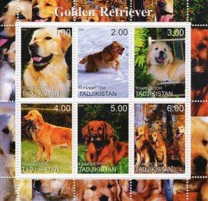 Tadjikistan 2000 DOGS GOLDEN RETRIEVER Sheetlet (6) MNH