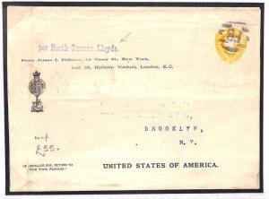 AK6 1872 GB TRANSATLANTIC Advert Postal Stationery PRINTED USA Address Cover