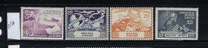 MALAYA JOHORE SCOTT #151-154  1949 UPU ISSUE- MINT NEVER HINGED