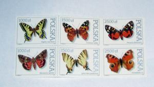 Poland - 3055a, MNH Block 0f 6 Set. Butterflies. SCV - $2.25