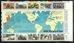 #2981 World War II 1945 plate block Mint NH