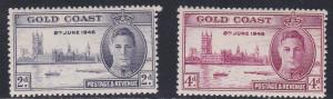 Gold Coast # 128-129, Peace Issue, some acid staining on backs, NH, 1/3 Cat.