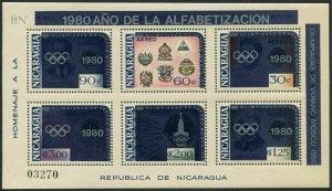 Nicaragua Michel 2141-2146 Bl.125,MNH.Olympics Moscow-1980.Alphabetization-1980.