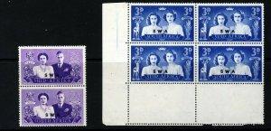 SOUTH WEST AFRICA 1947 Royal Visit Blocks VARIETY BLACK-EYED PRINCESS SG 136a