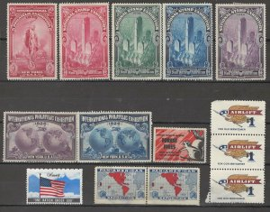 COLLECTION LOT # 3810 UNITED STATES 14 CINDERELLAS MNH/MH 1901+