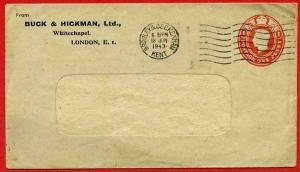 ES61 KGVI 1d Carmine Buck and Hickman Stamped to Order Envelope Size 95 x 165 U