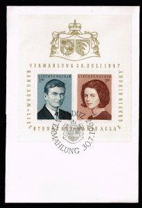 Liechtenstein STAMP 1967 Wedding of Hans-Adam, Countess Marie Aglae Kinsky S/S