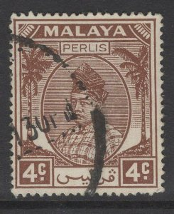 MALAYA PERLIS SG10 1951 4c BROWN USED