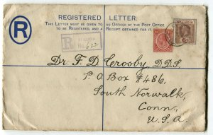 ST. LUCIA to USA Registered Letter Postage Cover Stationery 1925 Used