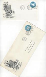 United Nations U1 & 1a, Postal Stationery,  ArtCraft FDC