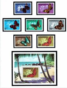 Dominica 421-26a MNH 1975 Fish with S/S