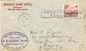TRINIDAD & TOBAGO PAQUEBOT Cover DOMINICA GPO Cachet Maritime GB 1954 PB291
