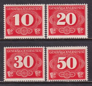 Poland 1940 Sc NL1-4 Rural Delivery Issue WW2 German Occupation Stamp MNH