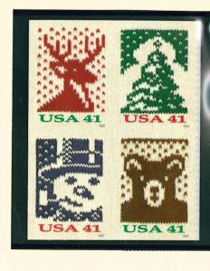 US Scott # 4207a - 4210a / 4210c  2007 Holiday Christmas Knits DS Block of 4 MNH