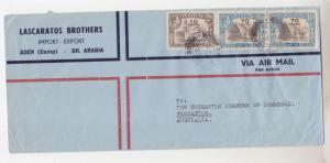 ADEN,1952 New Currency 10c & 70c pair, Aden Camp to Fremantle, Western Australia