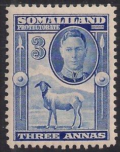 Somaliland 1942 KGV1 3 Annas Bright Blue MM SG 108 ( K551 )