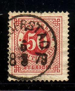 Sweden Sc 36 1878 50 ore carmine stamp used