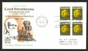 Canada Sc# 531 Ottawa CXL Cole Covers FDC block/4 (g) 1970 9.4 Sir Donald Smith