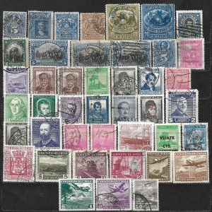 COLLECTION LOT OF 43 CHILE STAMPS 1878+ CLEARANCE
