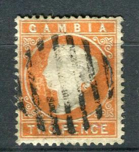 GAMBIA; 1886 early classic QV Crown CA issue fine used 2d. value,