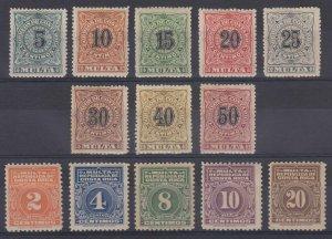 COSTA RICA 1903-15 POSTAGE DUE Sc J1-J13 Yvert TT1-13 FULL SET HINGED MINT €111+