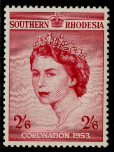 SOUTHERN RHODESIA QEII SG77, 2s 6d carmine 1953 CORONATION, NH MINT.
