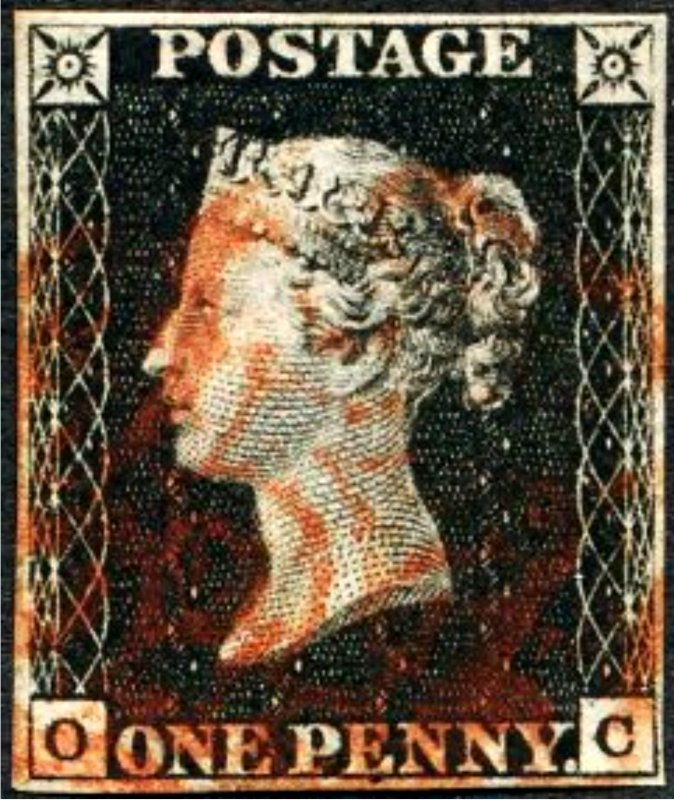 Great Britain Penny Black OC Four Margins