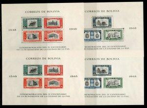 Bolivia - Sc# 147 a&b + C148 a&b MNH  -  S/S  - Lot 0921904
