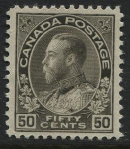 Canada KGV 1925 50 cents black brown Admiral mint o.g.