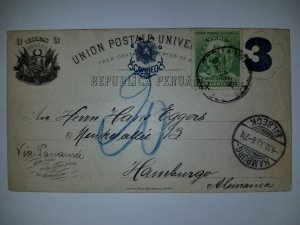 J) 1905 PERU, POSTCARD, UPU, NUMERAL, 3 CENTS, FRANQUEO, CIRCULATED COVER, FROM