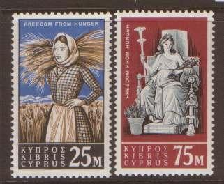 Cyprus 1963 Freedom from Hunger SG227-228 Nhmint