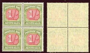 Australia 1947 KGVI Postage Due 1s block of four MNH. SG D128. Sc J80.