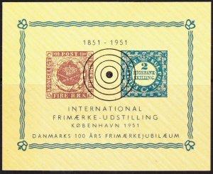 Denmark 1951 stamp show mini sheet