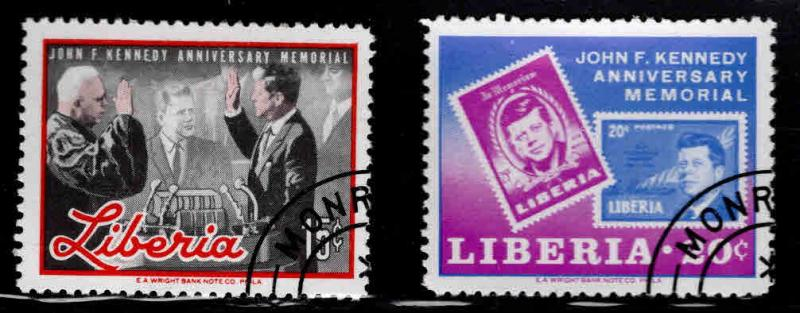 LIBERIA Scott 447-448 Used CTO JFK stamps