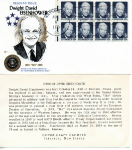 US FDC #1393a Eisenhower Pane, Cover Craft (9222)