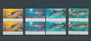 Papua New Guinea 2003 Fish Dolphins Pairs (8 Stamps) MNH (Pap11a
