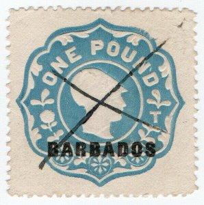 (I.B) Barbados Revenue : Duty Stamp £1 (die T)
